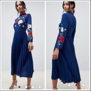 ASOS Design embroidered pleated midi dress